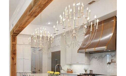 chandelier over a kitchen sink