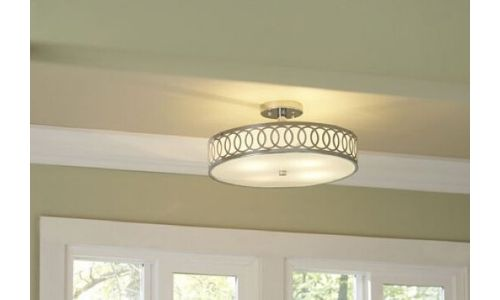 flush mount light over a kitchen sink