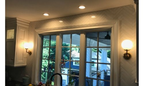 recessed lighting over a kitchen sink